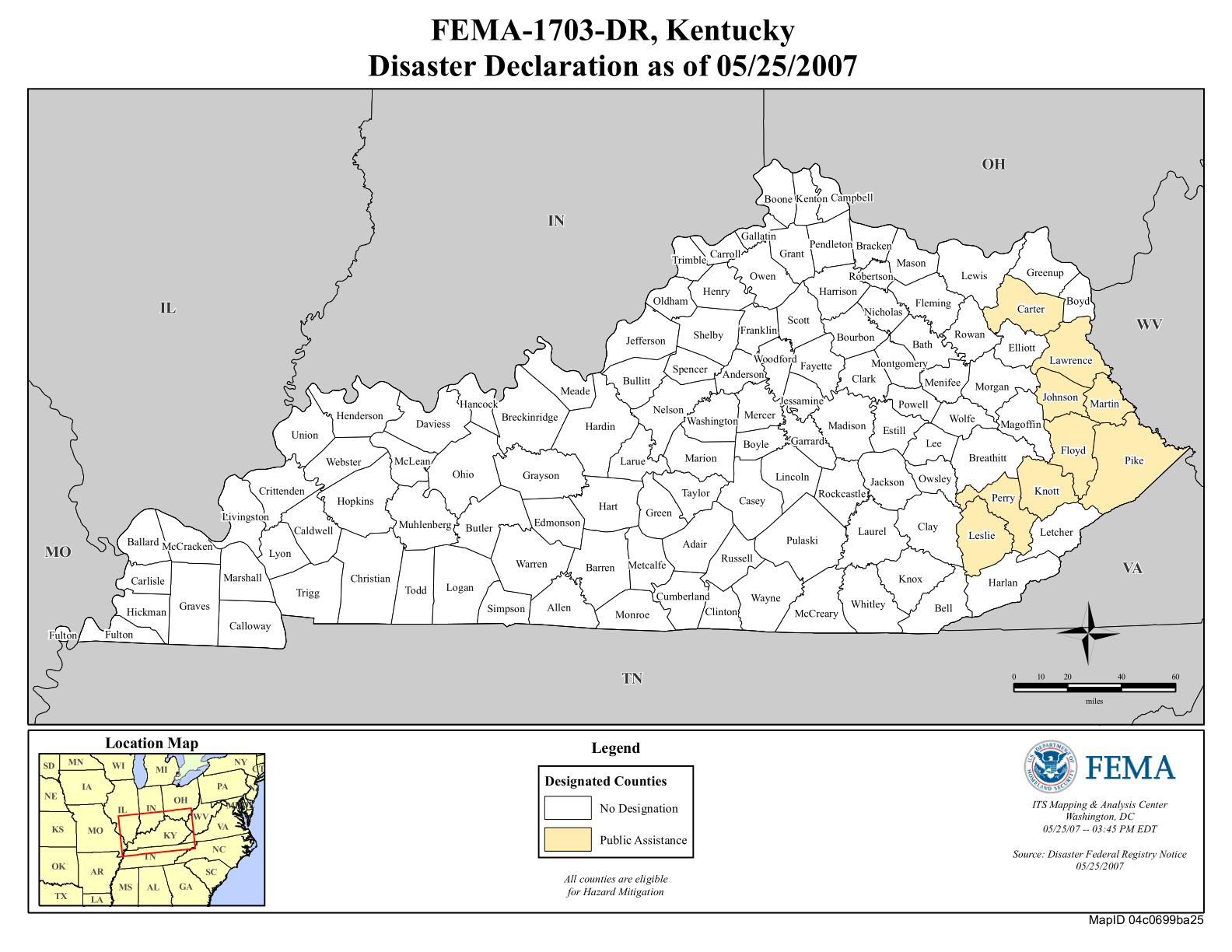 Kentucky Severe Storms Flooding Mudslides and Rockslides DR