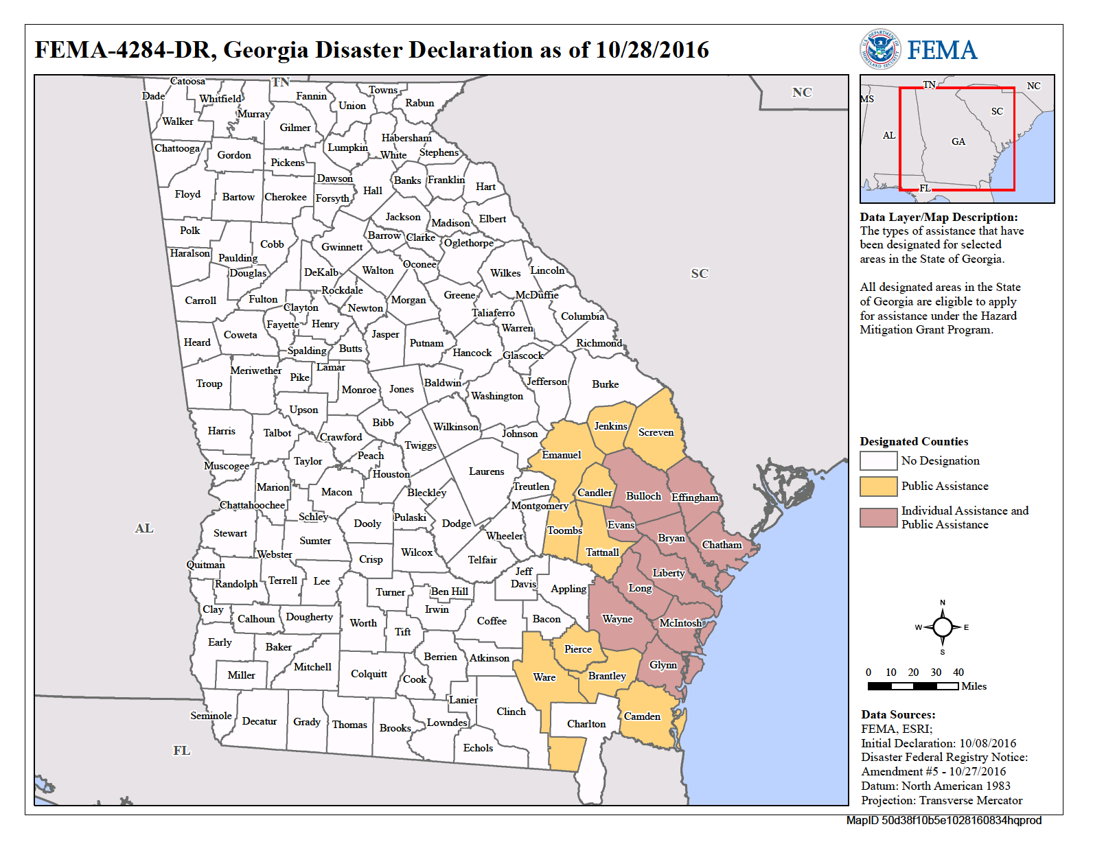 Georgia Hurricane Matthew DR FEMAgov - Georgia map hurricane