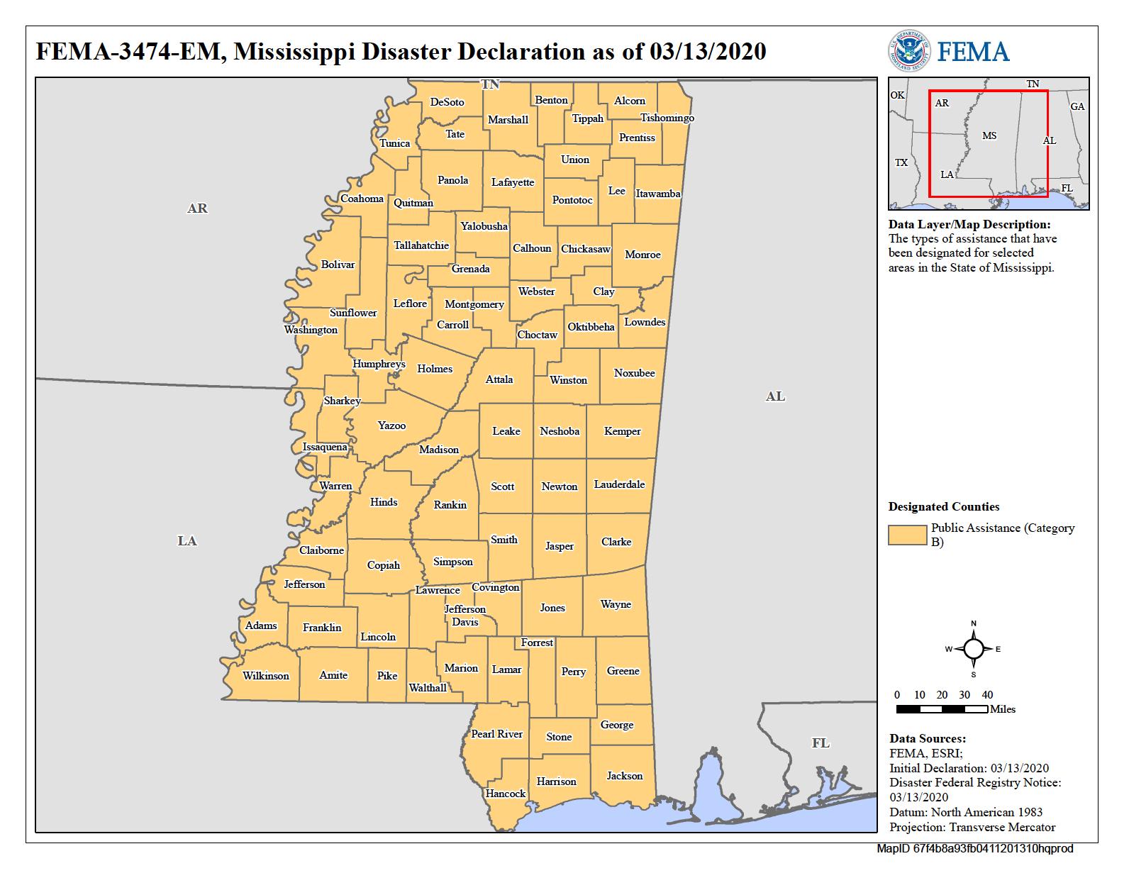 Map of Mississippi